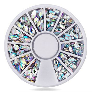 Zealer Round Pearls Rectangle Women Ladies 3D Acrylic Nail Art Gems Resin DIY Decoration Wheel (White AB)