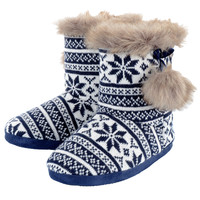 Womens Cosy Knitted Fairisle Slipper Boots Fleece Lining Faux Fur Trim & Pompoms