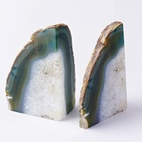 Agate Bookend, Green