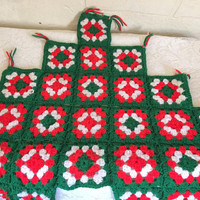 Boho Christmas Decor Crochet Tree Skirt Granny Square Crocheted Tree Skirt Christmas Tree Skirt Retro Tree Skirt Hippie Christmas Retro Xmas