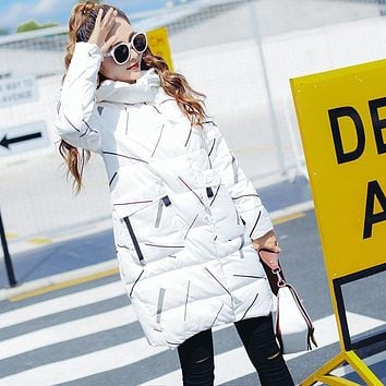 High quality cute long down jacket woman winter 2017 hooded coats female thick long parka casual pattern top clothing kawaii new