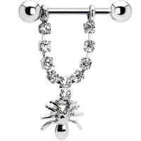 Crystalline Gem Spider Nipple Ring | Body Candy Body Jewelry