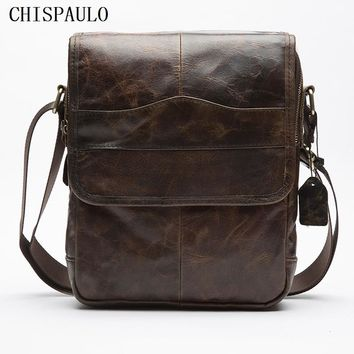 CHISPAULO Real Genuine leather men bag Briefcase Fashion Brand Designer Handbags leisure men's handbag men's travel bags T720