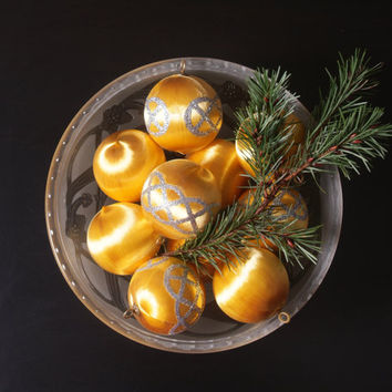 Gold Satin Ornaments, Gold Balls, Gold and Glitter Satin Ornaments, Collection of Ornaments