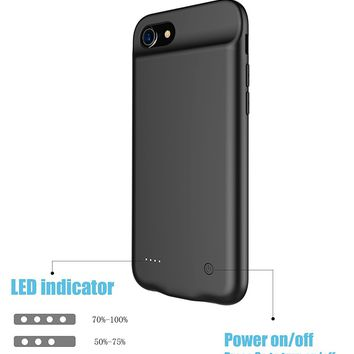 Pumier iPhone Battery Case 8 / 7 / 6 / 6s with Lightning Headphone,Ultra Slim Protective iPhone Charging Battery Pack Case 3000mAh with Magnetic Stand Function(Black)