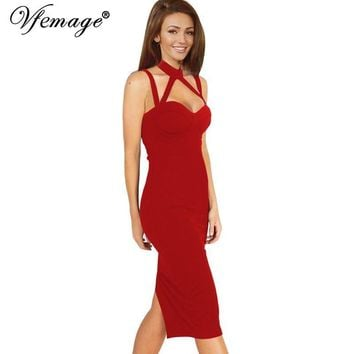 Vfemage Women Sexy Backless Strappy Halter Summer Fashion Lady Casual Party Club Evening Vestidos Slim Bodycon Pencil Dress 6103