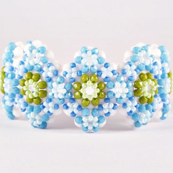 Beadwork Bracelet, White, Blue, Green Beaded Bracelet, Flower Summer Beaded Bracelet in Light Blue & Olivine Green, Handmade Beaded Jewelry