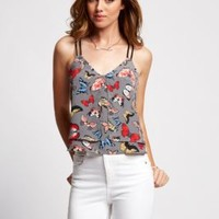 Sleeveless Butterfly-Print Layered Tank