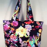 Floral Tote Bag with Black Lining - READY TO SHIP