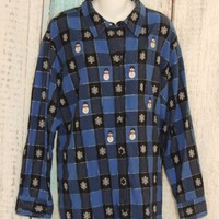 Krazy Kat Shirt  Size 3X Winter Holiday Blue Long Sleeve