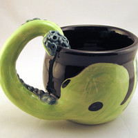 Octopus Mug, cup, cephalopod, arm, tentacle, green with teal suckers