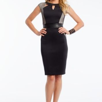 Scuba and Mesh Cut Out Dress