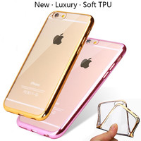 Ultra Thin Rose Gold Plating Crystal Clear Case For iPhone SE 5 5S 6 6S 6 Plus 6SPlus Luxury Transparent Soft TPU Phone Cover
