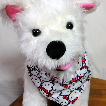 Over the Collar Pet Dog Bandana Red and White Hello Kitty Cotton Handmade Small Medium