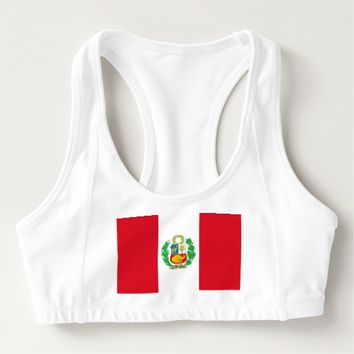 Women's Alo Sports Bra with flag of Peru