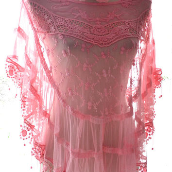 SALE Lace wrap, Shabby red raspberry, poncho, romantic bohemian gypsy, summer shawl, french cottage chic, boho clothes, true rebel clothing