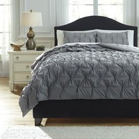 Q756023Q Rimy Queen Comforter Set - Gray - Free Shipping!