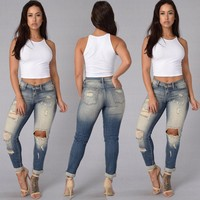 Women Fashion Stretch Worn Ripped Jeans Pencil Pants Trousers