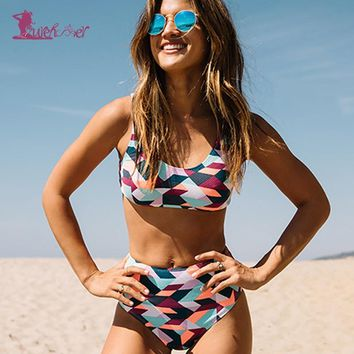 Lurehooker Sexy High Waist Geometric Print Bikini Set halter Swimsuit Summer Beach Bathing Suit Two Piece Women Swim Bikinis
