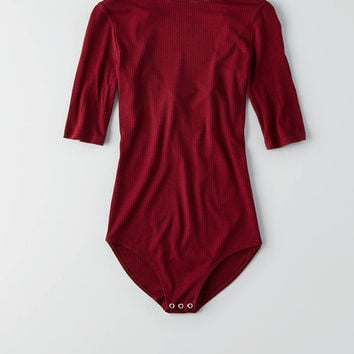 AEO Ribbed Body Suit, Red