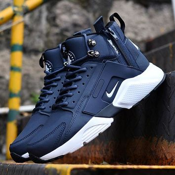 Best Online Sale Nike Air Huarache X Acronym City Customise MID Leather Sport Shoes Blue White