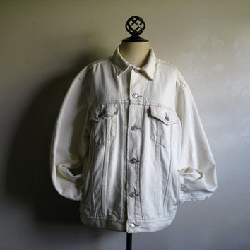 Levi Strauss 1990s Vintage Denim Jacket Levis White 90s Jean Grunge Style Mens Jacket Large