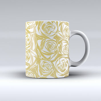 The Gold and White Roses ink-Fuzed Ceramic Coffee Mug