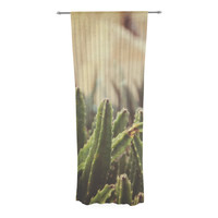 "Jillian Audrey ""Green Grass Cactus"" Green Brown Decorative Sheer Curtain"