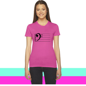 bass clef1 women T-shirt