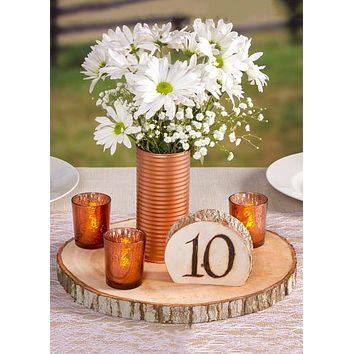 "David Tutera Natural Round Wood Slab Tray for Centerpieces - 12"" Wide"