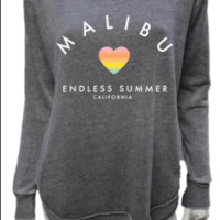 MALIBU SWEATS Endless Summer Burnout Round Hem Crew Neck Pullover | Steel Grey
