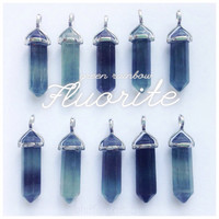 Fluorite crystal point necklace Green to Purple shades, color is chosen at random