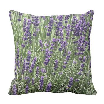 Lavender Field Floral Photo Square Outdoor Pillow