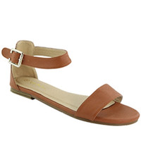 """Jovie"" Ankle Strap Flat Sandals - Camel"