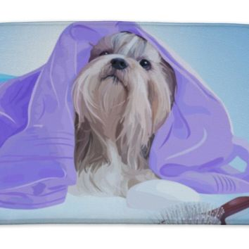 Bath Mat, Shih Tzu Dog After Washing With Bathrobe Towels And Comb