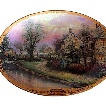 Thomas Kinkade, Collectible Bradford Exchange, Lamplight Lane, Kinkade Plate, Lamplight Plate, Collectible Plate, Thomas Kinkade Plate, Gift