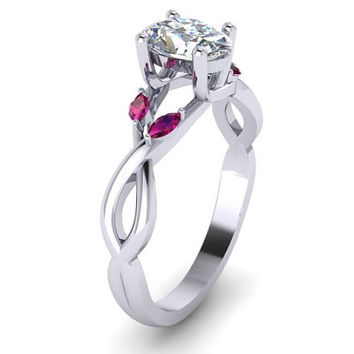 Moissanite Engagement Ring Natural Ruby Leaves Marquise Engagement Ring 14K White Gold Oval Moissanite Ring RE00155