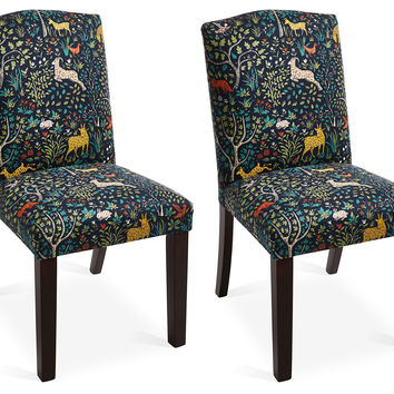 Navy/Multi Indio Side Chairs, Pair, Dining Chair Sets