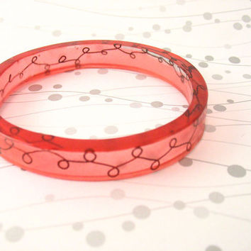 Pink wire resin bangle bracelet jewelry , bronze wire scroll work rose large rani resin bracelet pink resin bangle scroll narrow cuff design