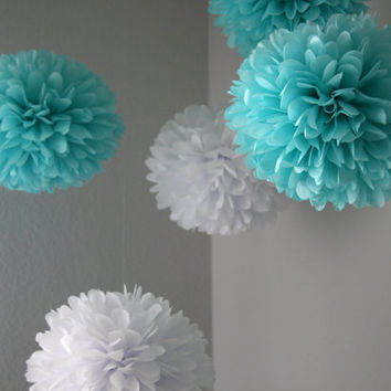 Tiffany .. 5 Tissue Paper Pom Poms for Bridal Showers / Weddings / Baby Shower / Birthday and Party Decorations