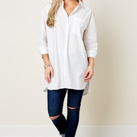 Classic White Top - Tunic Top - Button Up Blouse - $38.00