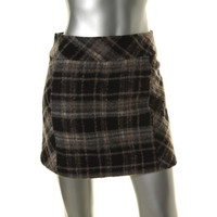 Free People Womens Lined Plaid Mini Skirt