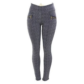 Winter Gray Tone Zipper Accent Pattern Printed Pockets Winter Leggings - L/XL (10-14)