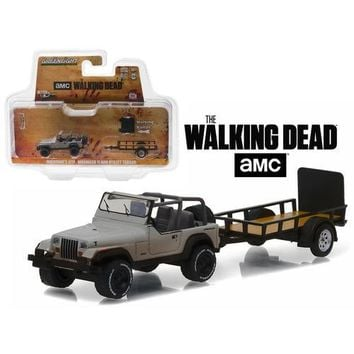 "Michonne's Jeep Wrangler YJ and Utility Trailer ""The Walking Dead"" (2010-Current TV Series) Hitch & Tow Series 8 1/64 Diecast Model Car  by Greenlight"