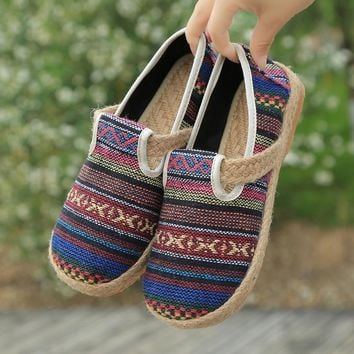 2018 New Design Spring Fashion Shoes Women Flat Peking Cheap Casual Comfortable Shoes Hemp Students Gingham Shoes Zapatos Mujer