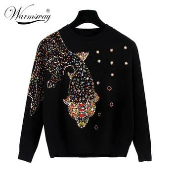 Autumn Female Designer Fashionable High Street New Pullovers Round Neck Cable Knit Goldfish Bead Sweater