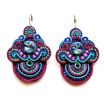 SUNBIRDS soutache earrings in purple, turquoise and pink (free international shipping)