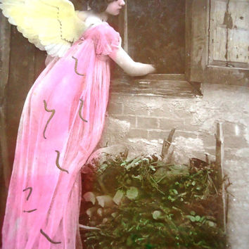 Antique angel postcard - Woman girl child, wings pink long gown, headband Edwardian Christmas, window stable french hand tinted 1900