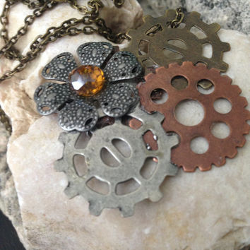 Steampunk Jewelry, Steampunk Necklace, Gear Necklace, Flower Necklace, Vintage Flower Necklace, Women's Fashion, Daughter Jewelry, Fashion