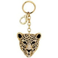 Gold Leopard Mask Crystals Rhinestone Handbag Purse Charm / Key Chain Keyring Holder